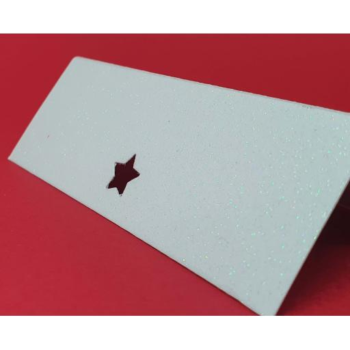 Star Cut Crystal White Diamond Glitter Wedding / Party Place Name Cards