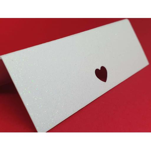 Love Heart Cut Crystal White Diamond Glitter Wedding / Party Place Name Cards