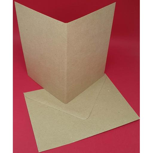 A6 Folding To A7 Pre Scored 225gsm Natural Brown Kraft Card Blanks and Envelopes