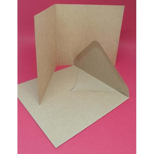 Pre Scored 120mm x 120mm Square 280gsm Natural Brown Kraft Card Blanks and Envelopes