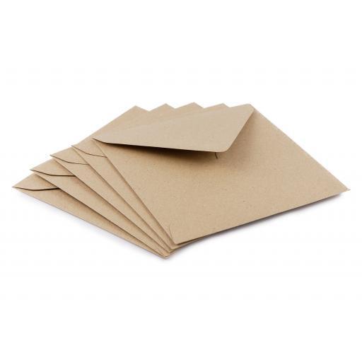 155mm Square Natural Brown Kraft Fleck Envelopes